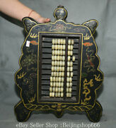 18.8 Old Chinese Lacquerware Wood Jade Dynasty Palace Turtle Design Abacus