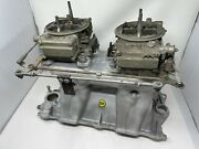 Vintage Offenhauser Power Port 360 2x4 Intake Manifold +carbs Race Chevy 350