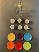 Pier 1 Imports Stacking Expresso Set New 6 Cups 6 Saucers 1 Metal Holder Display
