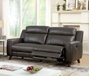 2pc Sofa Set Living Room Furniture Sofa And Loveseat Gray Leatherette Couch