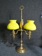 Antique Brass Double Student Lamp With Cased Glass Yellow Shades