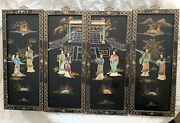 Vintage Asian Black Lacquer With Inlay 4 Hanging Wall Panels Geisha Girlstemple