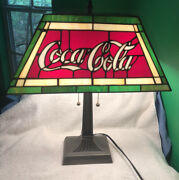 Retro Cocacola Leaded Glass Style Electric Lamp W/16andrdquo Rectangular Shade