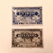 1944 French Algeria 1 And 2 Francs P 98 And P 99 - 2 Note Lot