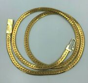 14k Solid Yellow Gold Made In Italy Herringbone Necklace Chain 17 Grams No Scrap