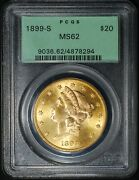 1899-s 20 Liberty Head Gold Double Eagle, Pcgs/ogh Ms62