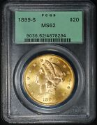 1899-s 20 Liberty Head Gold Double Eagle Pcgs/ogh Ms62