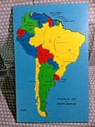 Vintage 1950's Sifo Wooden South America Puzzle Map 12x 19