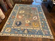 On Sale Attractive Hand Knotted Indo Oushak Geometric Area Rug Carpet 9x12ft49
