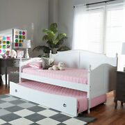 Baxton Studio Mara Cottage Farmhouse White Finished Wood Twin Size Daybed With R