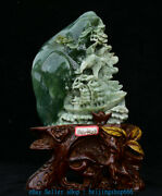 13 Chinese Natural Green Xiu Jade Jadeite Carved Mountain Water Boat Statue