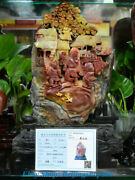 16 Chinese Natural Shoushan Stone Carved Old Man Houses Bird Statue Decorate