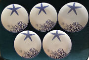 Fitz And Floyd Everyday White Coastal Dinner Plates Lot Of 5 Blue Starfish 9 Inch