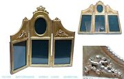 Old French Gilt Bronze Picture Frame Miniature Screen Shape Doll House Angels