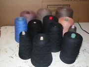 Large Lot Vintage Crochet Thread Cones - Thin Yarn - Black Blue Green 12 Pounds