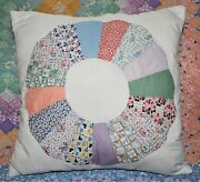 Throw Pillow Made From Vintage 1930's Farmhouse Dresden Plate Quilt Block