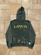 Brand New Lanvin X Gallery Dept Faded Green Painted Pullover Hoodie Size Medium