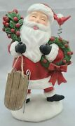 Santa Claus With Sled And Wreath Cardinal Christmas Table Mantle 8 Resin Decor