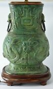 Rare Antique Green Bronze Vase Table Lamp Old And Heavy Chinese Art