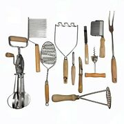 Vintage Farmhouse 11 Pc Wooden Handle Mixed Kitchen Utensil Tool Collection