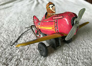 Vintage 1930s Marx Tin Litho 5 Rollover Plane, Working Excellent Wind Up
