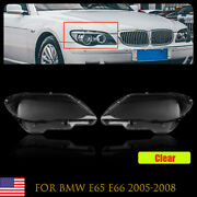 Clear Plastic Headlight Lens Covers Left+right Fit For Bmw E65 E66 2005-2008