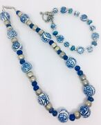 Cobalt Blue Chinese Export Beaded Necklace And Bracelet Demi Vintage Jewelry