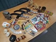 Junk Drawer Lot - Stieff, Vtg Toys, Game Pieces, Dice, Coins, And More
