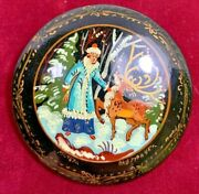 Vintage Russian Black Lacquer Fairy Tale Art Pin Mctera Signed Magic Horse