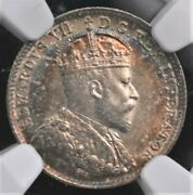 1907 Canada Five Cents Ngc Ms 63 Crisp Silver Centers With Lovely Rim Tone