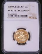 1980 Great Britain Gold Sovereign Ngc Pf70 Ultra Cameo Just Graded Pq D25