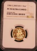 1986 Great Britain Gold Sovereign Ngc Pf70 Ultra Cameo Just Graded Pq D21
