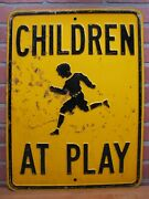 Children At Play Old Embossed Steel Sign Street Road Transportation Advertising