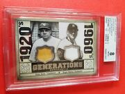 Babe Ruth And Roger Maris Game Used Jersey And Bat Card Graded Bgs 8 Nm Mint Yankees