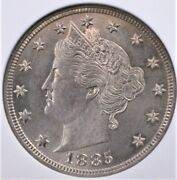 1885 Liberty V Nickel Ngc Ms 62 Lustrous Silver And Pale Golden Mauve Over