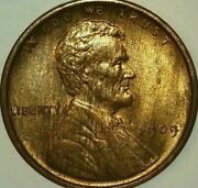 1909-p Vdb Lincoln Cent - Red/brown Gem+ Uncirculated - Free Shipping