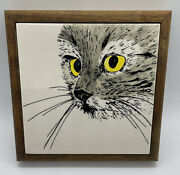 Sierra Windsong Cat Trivet Hand Painted Gray Cat Yellow Eyes Signed Wood 1985