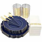 140pcs Plastic Plates And Gold Plastic Silverware With Handle - Gold Blue