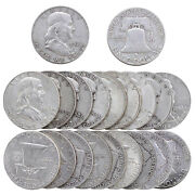 Franklin Half Dollar Roll 90 Silver 10 Face 20 Us Coins Circulated Mixed Date