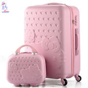 28and039and039 Women Hello Kitty Roller Trolley Luggage Toiletry Cosmetic Box Case Bag Set