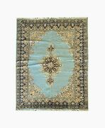 Hand Woven Wool Carpet Rug Oriental Area Rug Blue And Gold 200x300cm