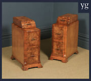 Antique Pair Of Art Deco Burr Walnut Bedside Chests Cabinets Tables Nightstands
