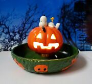 Dept 56 Peanuts Halloween Snoopy's Treat Dish Lights Candy, Trick Or Treat