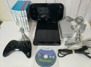 Nintendo Wii U 32gb Black Console System Complete Gamepad 7 Games Tested