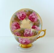 Aynsley Cabbage Rose Bone China Tea Cup And Saucer Set