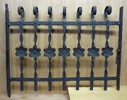 Antique Cast Iron Curly Top Floral Fence Window Gate Old Architectural Hardware