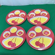 Set Of 4 Melamine Divided Picnic Section Plates Red Plastic Bbq Themed Target