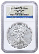 2011 American Silver Eagle - From 25th Anniversary Set Ngc Ms69 Er