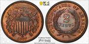 1867 2c Two Cent Piece Pcgs Ms 65 Rb Uncirculated Red Brown Exceptional