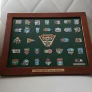 Peanuts X Mlb Collaboration Pin Badges Collection W/ Serial Number And Frame As38
